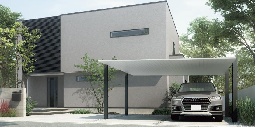 2台置きの駐車スペースも すっきりと美しく Sc ワイド 54 50型 柱 梁 ブラック 屋根材 ナチュラルシルバーf カーポート おしゃれ ハウスデザイン