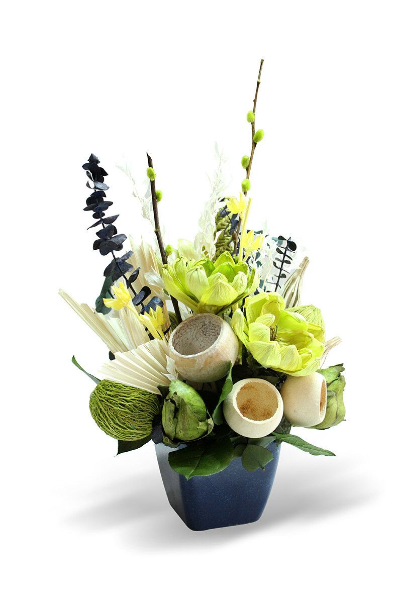 Easter Dried Floral Arrangement Green Yellow And Blue For An Accent