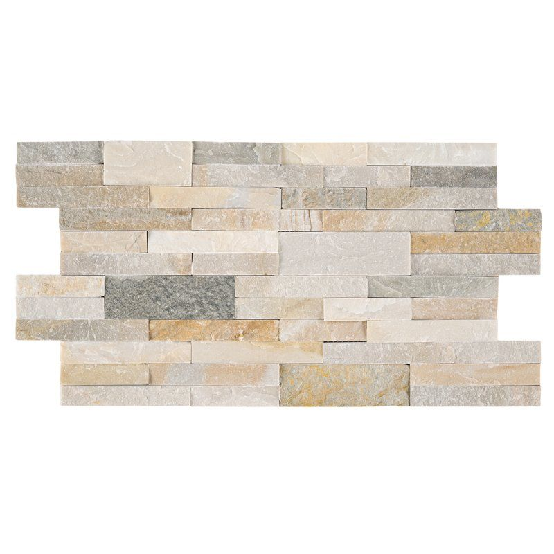 "Adhesive Accent Wall Slate: 6"" X 22"" Natural Stone Peel & Stick Mosaic Tile"
