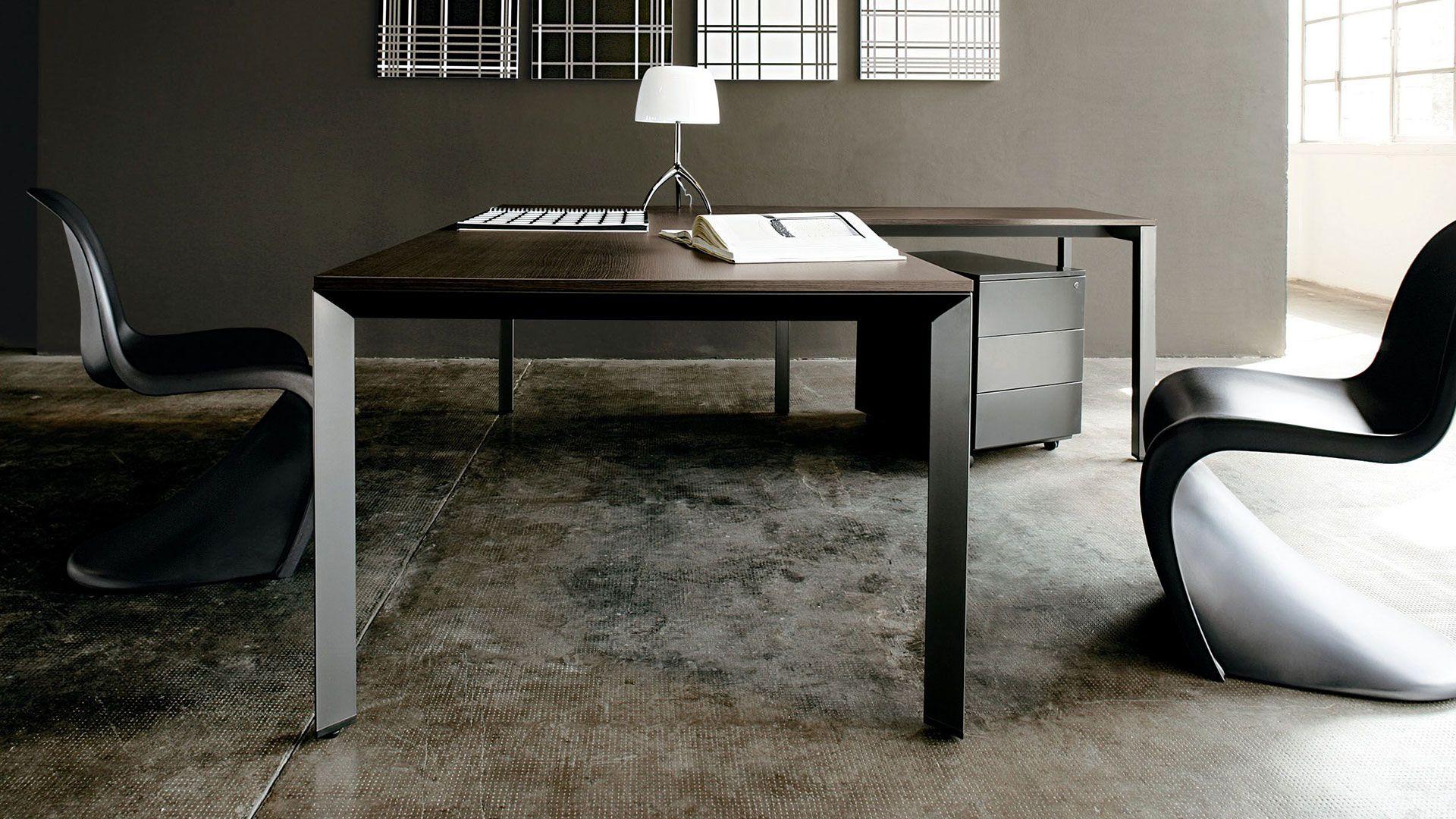 b rom bel chefschreibtisch schreibtischbein schwarz schreibtisch in dekor eiche dunkel mit. Black Bedroom Furniture Sets. Home Design Ideas