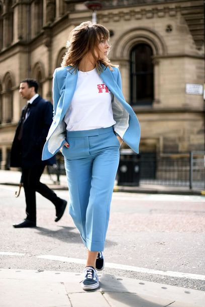 $50 - $100 Alternative Original Untraditional Bright Electric Blue Matching Two Piece Pant Suit Work Outfit Street Style Cool Casual Tumblr