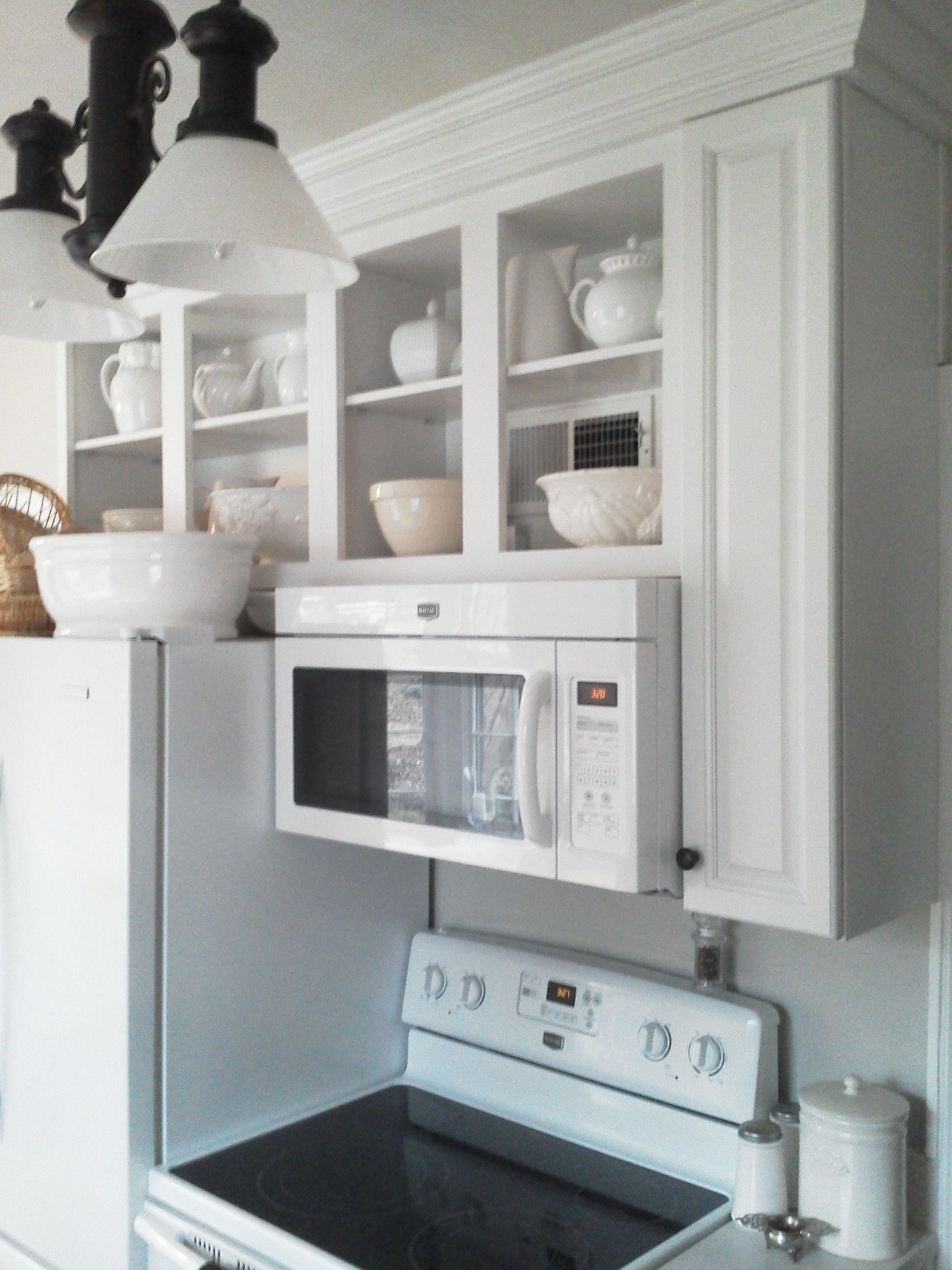 above+microwave+cabinets | wooden open cabinet kitchen ideas with