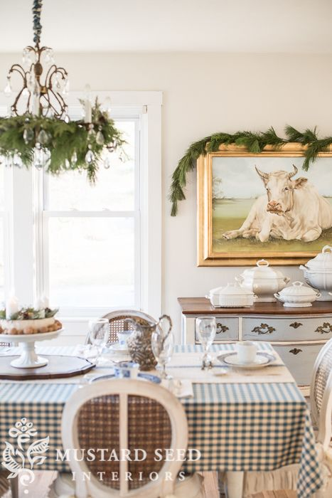 Christmas Decorating The Dining Room Miss Mustard Seed Decorating Blogs Decor Creative Decor