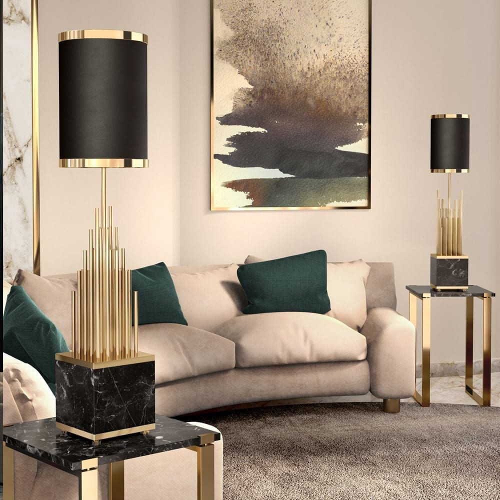 Large Designer Black And Gold Marble Table Lamp Marble