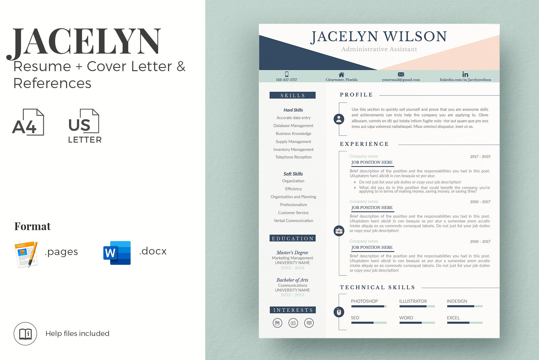 R50 Jacelyn Wilson Creative Resume Format For Freshers Professional Resume For Administrative Assistant Resume Cv Design For Word Pages Matching Cove Resume Format For Freshers Creative