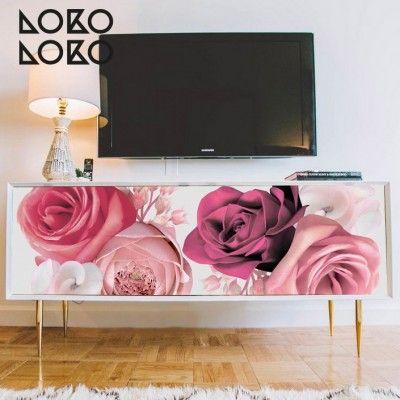Vinilo de flores rosas para decorar muebles de televisión y ...
