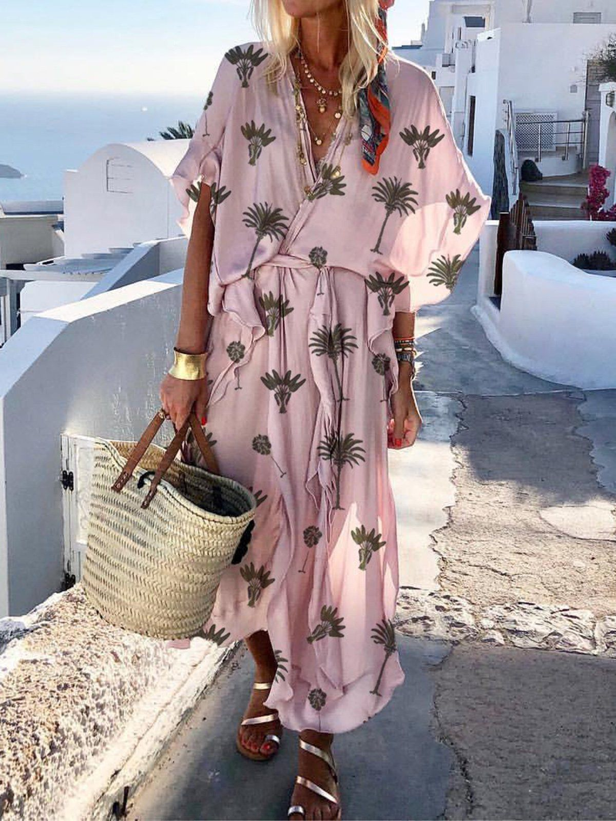Bohemian Printed Colour Batwing Sleeve V Neck Dress Dresses For Vacation Vacation Outfit Ideas Vacation D Summer Dress Outfits Fashion Maxi Dress With Sleeves [ 1600 x 1200 Pixel ]