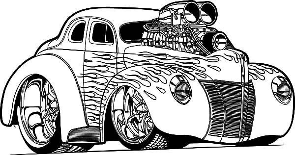 Hot Rod Car Coloring Pages Amazing Design
