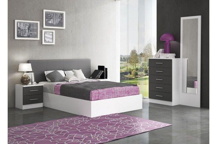 Original #dormitorio completo en colores blanco y grafito. Con ...