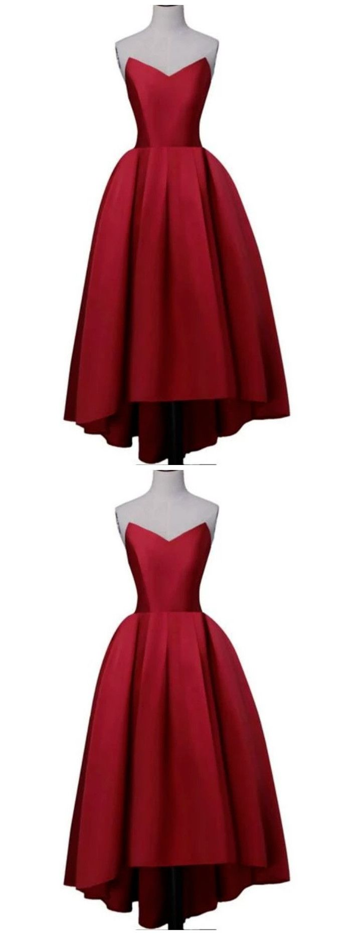 Wine Red Satin High Low Homecoming Dresses Lace Up Back Sweetheart Neck Prom Dress Homecoming Dresses Red Satin Prom Dresses [ 1860 x 690 Pixel ]