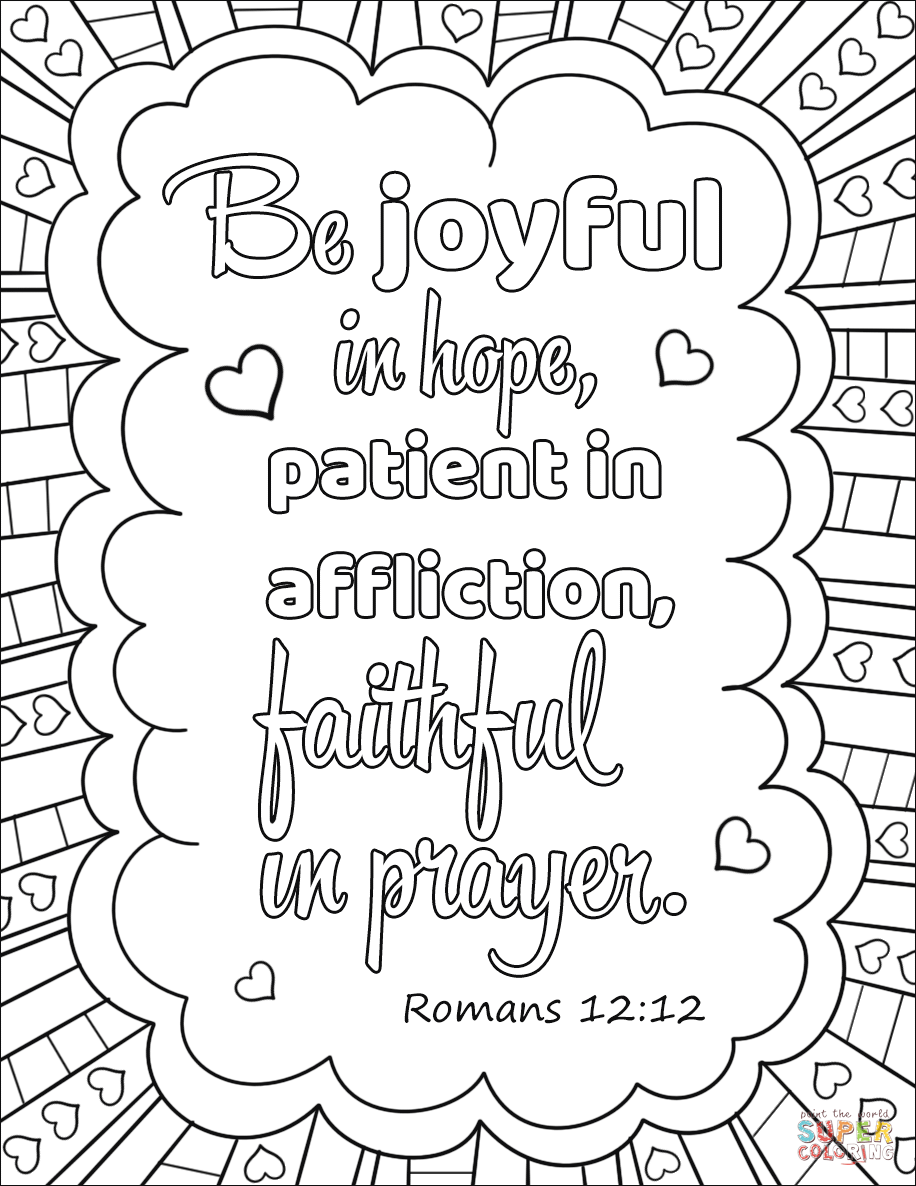Be Joyful In Hope Patient In Affliction Faithful In Prayer Coloring Page From Bible Verse Bible Verse Coloring Page Quote Coloring Pages Bible Coloring Pages