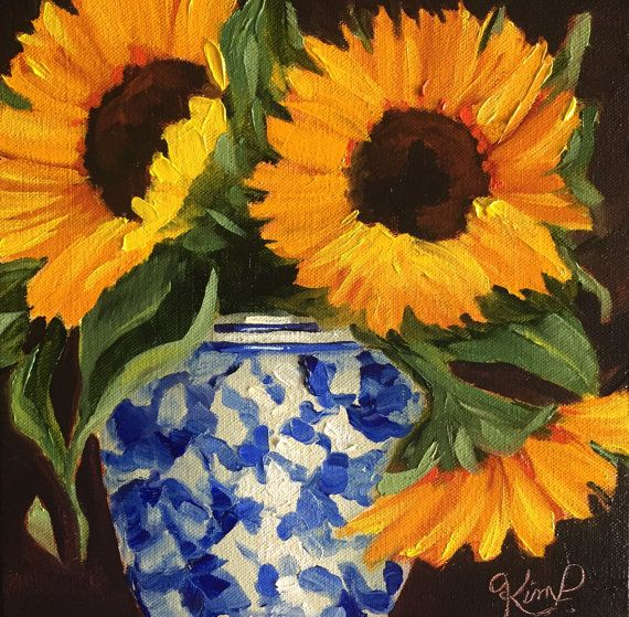 Original oil painting:  Sunflowers in Blue and by KIMPETERSONART