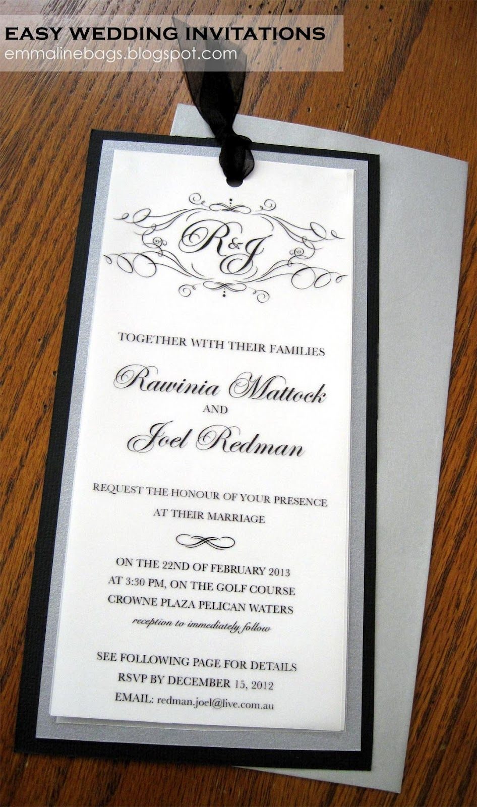 Emmaline Bags & Patterns: DIY Wedding Invitations! I made this using ...