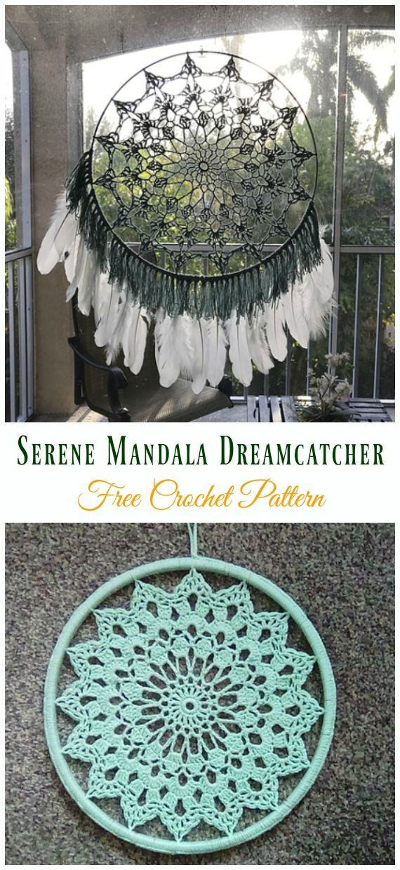Crochet Dream Catcher & SunCatcher Free Patterns #crochetmandalapattern