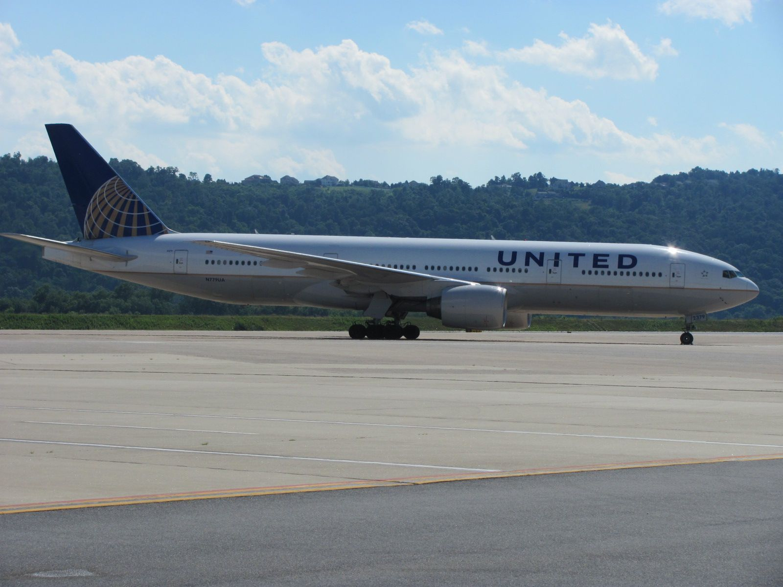 This 777 was diverted to MDT from another nearby airport due to poor weather in 2011.