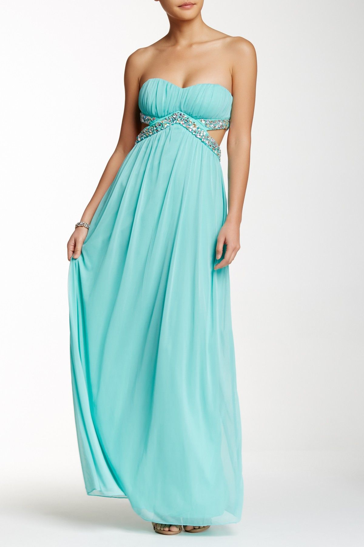 Strapless Bodice Cutout Mesh Prom Dress | Prom, Bodice and Teal