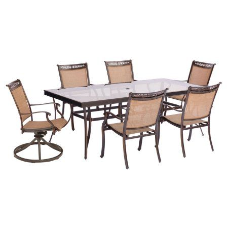 Hanover Fontana 7-Piece Outdoor Dining Set with 4 Stationary Chairs