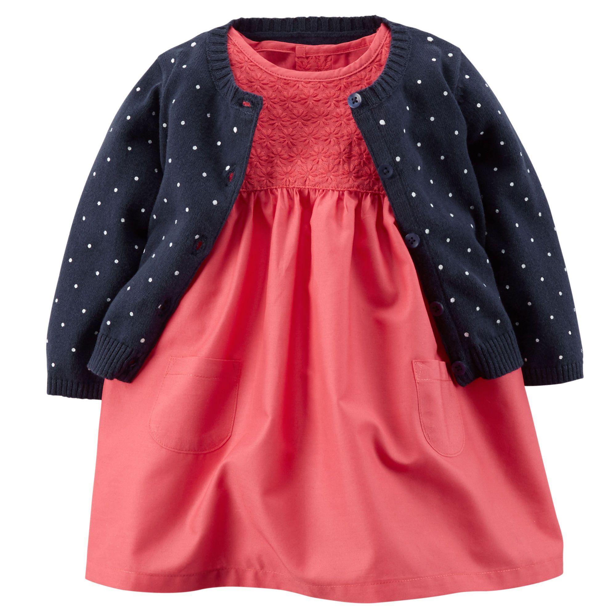 2 Piece Eyelet Lace Dress & Sweater Set
