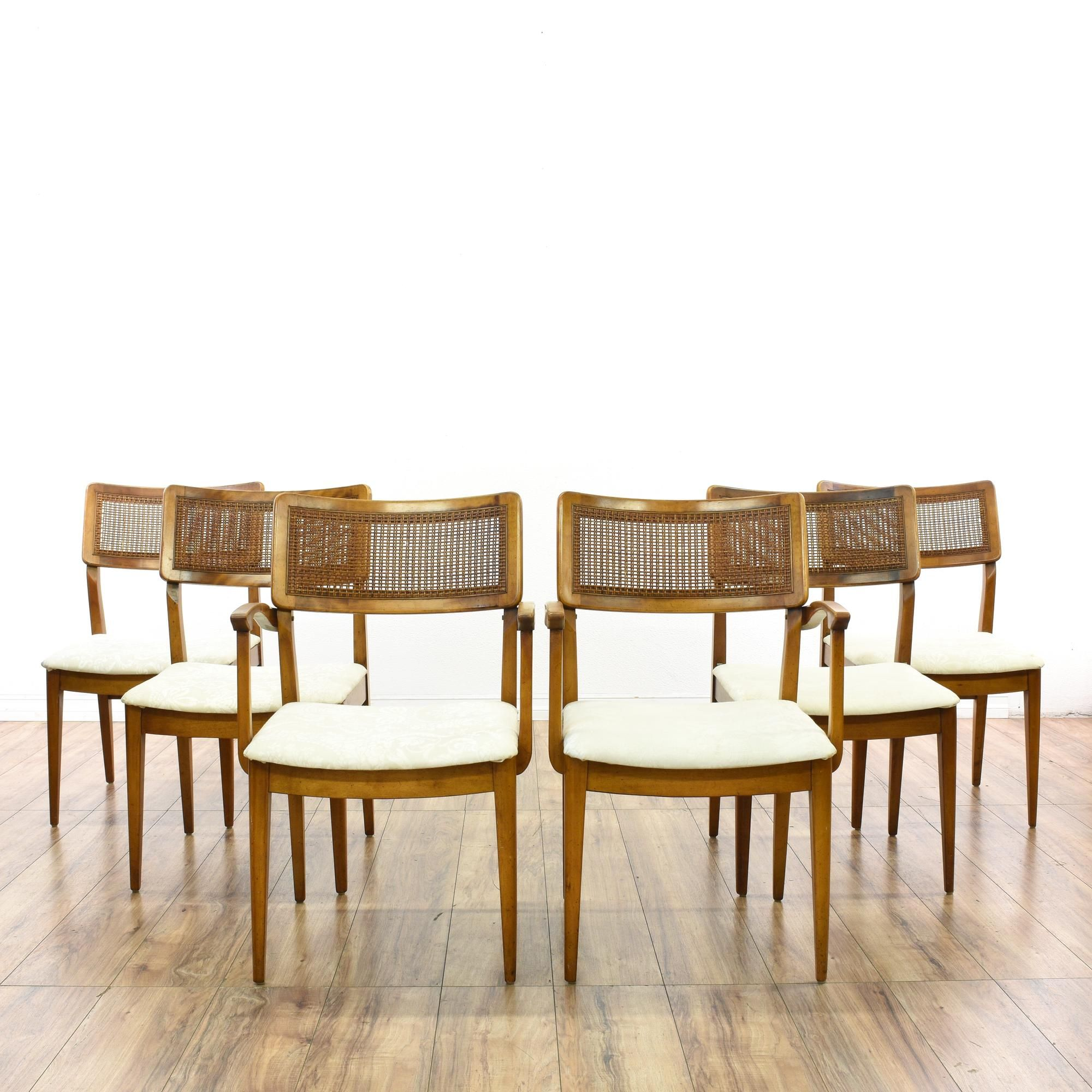 Set Of 6 Mid Century Modern Cane Dining Chairs Dining Chairs