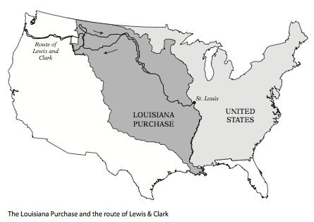 printable louisiana purchase map with lewis clark route cc cycle 3 week 6 pinterest. Black Bedroom Furniture Sets. Home Design Ideas