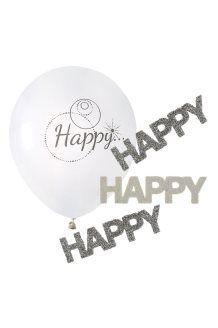 Kit Decorazione Happy<br>Bianco