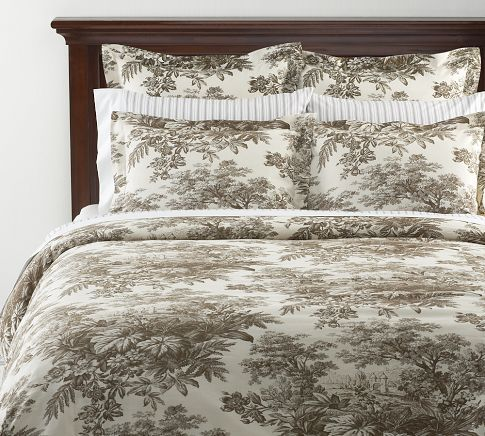 Matine Toile Duvet Cover Sham Espresso Pottery Barn Too Flowery Brown Toile Master Bedroom Update Pretty Bedding