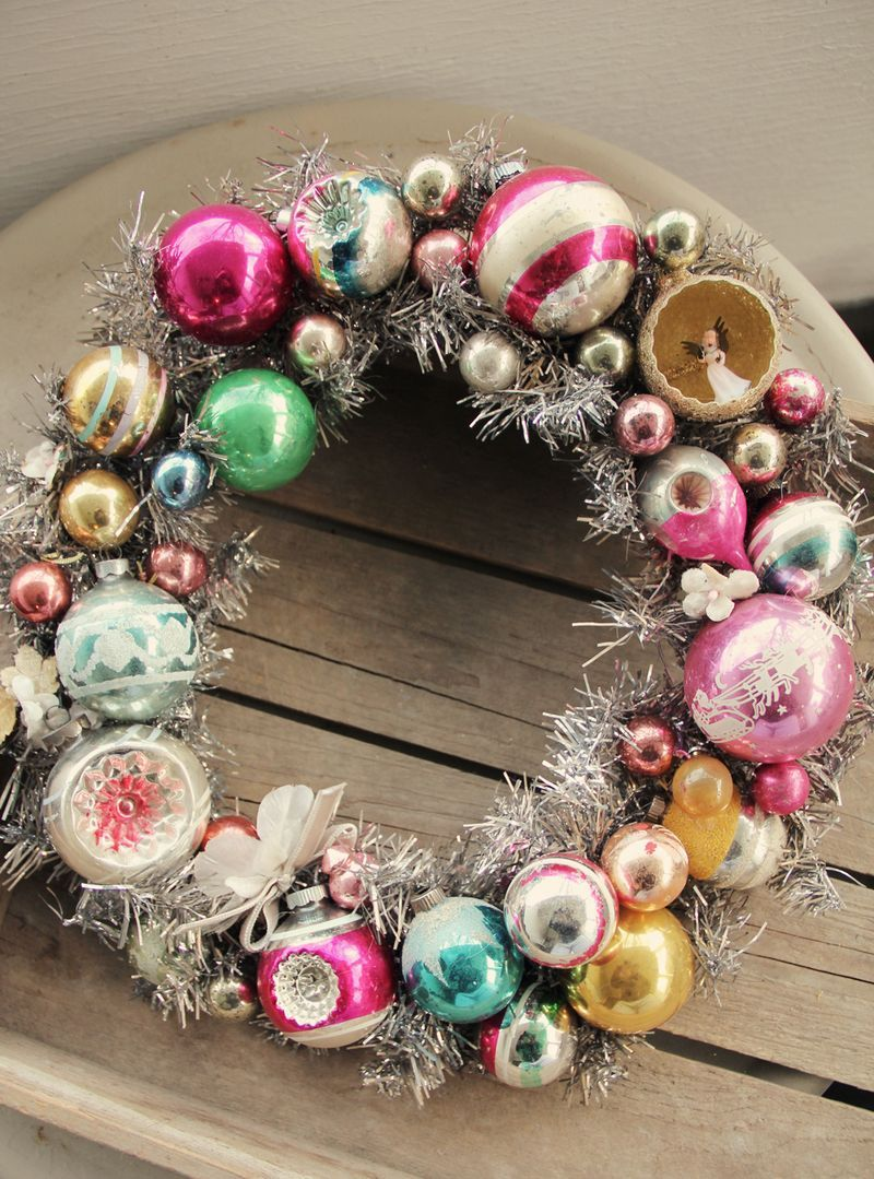 Christmas wreath made with vintage ornaments.