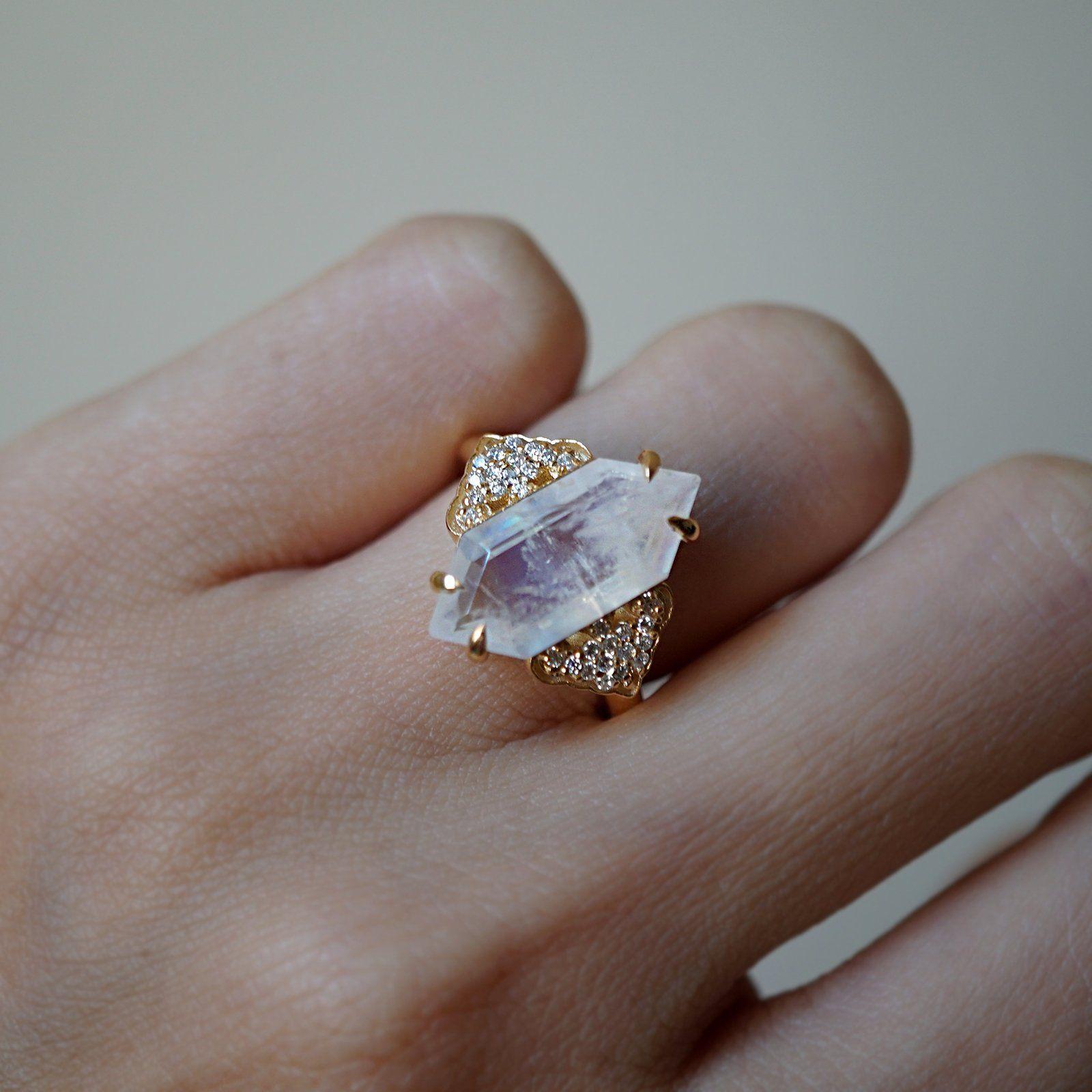 Frozen Moonstone Diamond Ring