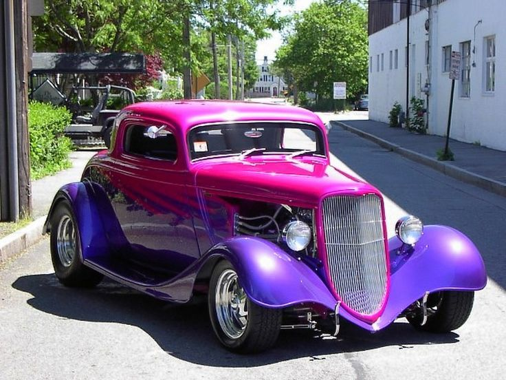 Nice, Car, Color, Old, Red, Purple