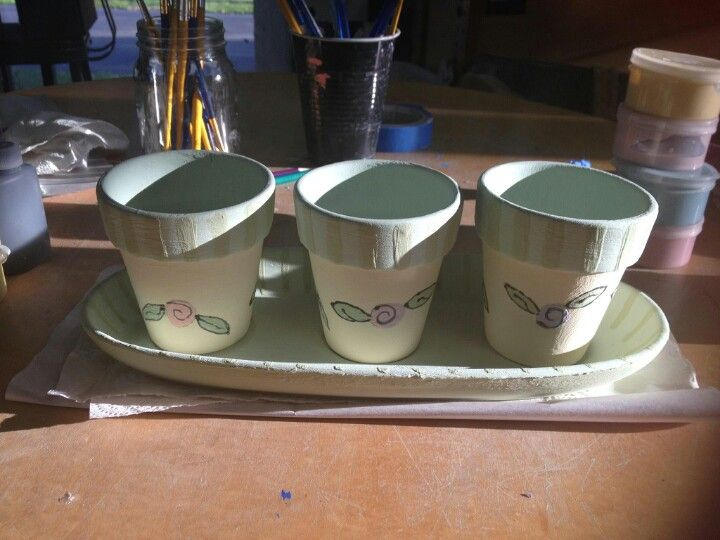 Before glaze and kiln. Painted clay pottery pot.