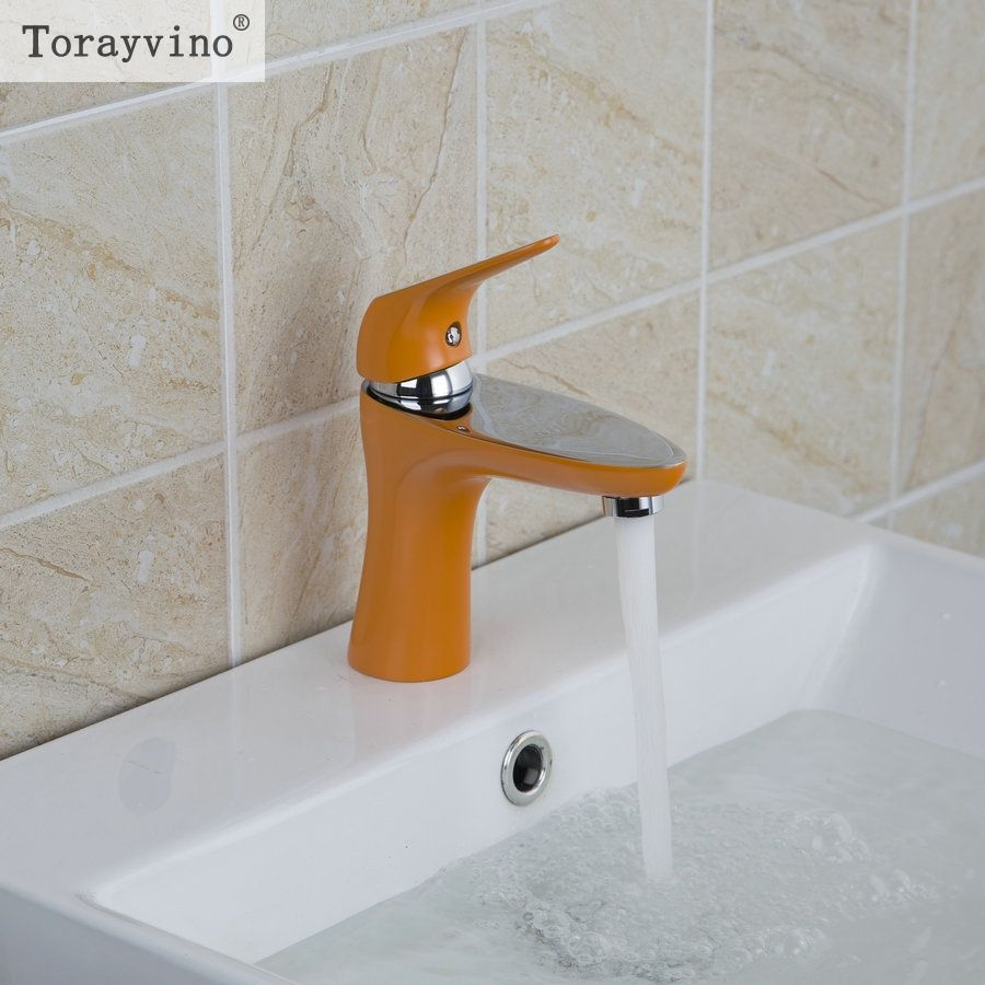 Torayvino Ceramic Orange Painting Basin Faucet Deck Mounted Single