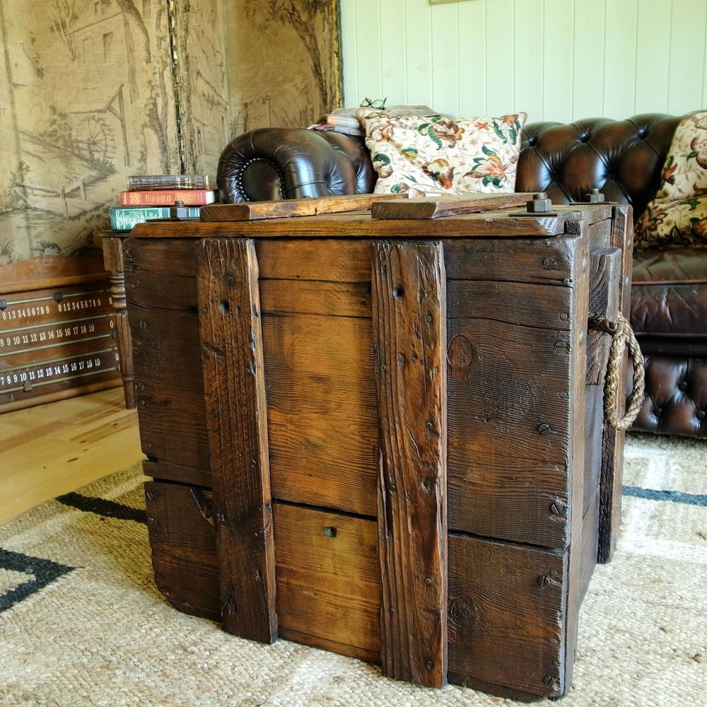 vintage industrial chest storage trunk coffee table rustic plank