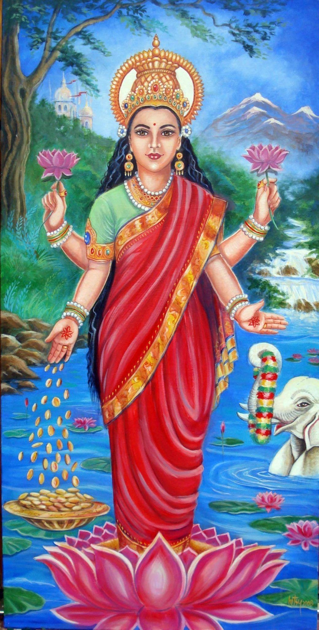 Indische Göttin Mit Rosenblättern Bedeckt