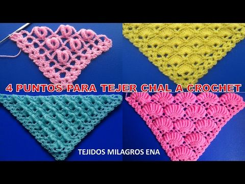 4 puntos para chales o shawl a crochet paso a paso en V, p… | shawls ...