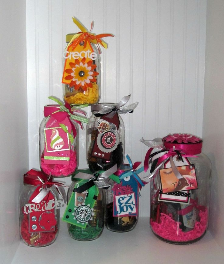 pinterest mason jar bridal shower favors%0A Use a mason jar add shredded paper  chocolates  a gift card  and some cute  embellishments   if you use small wrapped chocolates  you can use  frappucino