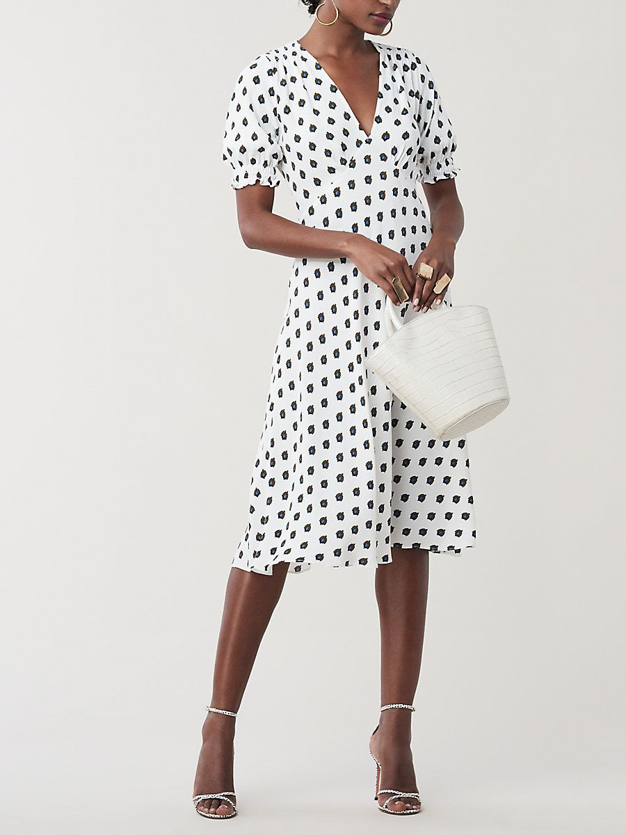 6813d14d12 Jemma Cinch Sleeve Midi Dress in Fleur Dot Ivory | Fashion in 2019 ...