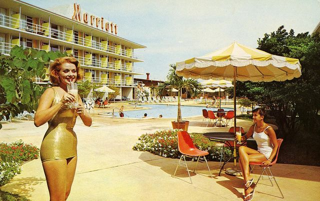 A fabulous stay at the Marriott in the late 50s. Digging the gold lame bathing costume!!!