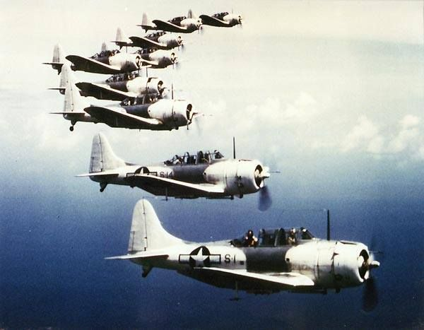 SBD Dauntless dive bombers painted for use in the Atlantic