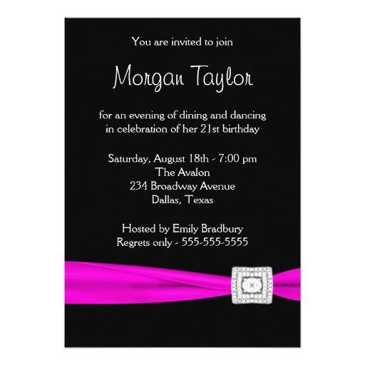 Black hot pink diamond 21st birthday party card 21st birthday black hot pink diamond 21st birthday party 5x7 paper invitation card stopboris Images