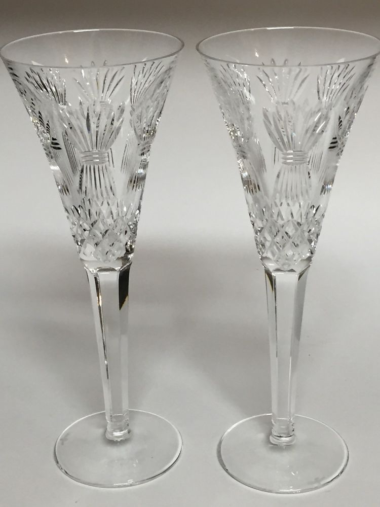 Pair Waterford Millennium Fluted Champagne Glasses Prosperity Crystal Wheat Waterford Champagne Flute Glasses Champagne Glasses Vintage Stemware