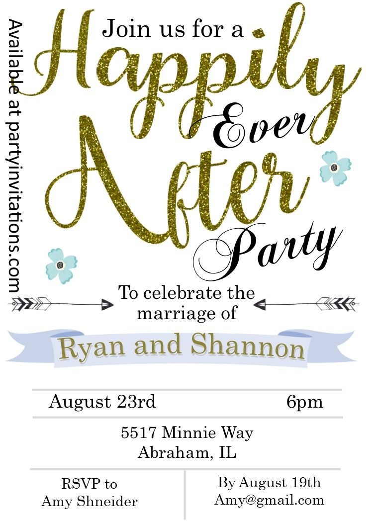 Happily Ever After Eloping Party Invitations Eloping Party
