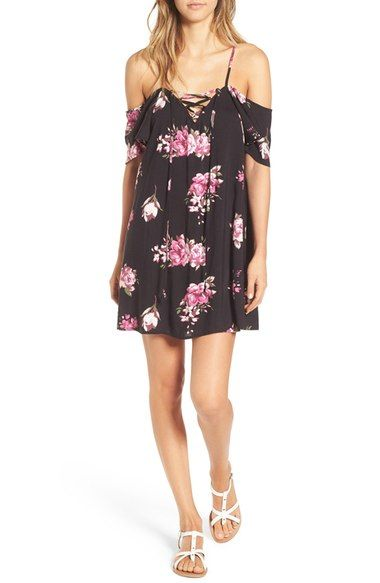 Mimi Chica Floral Print Cold Shoulder Shift Dress available at #Nordstrom. Textile design by Tamorah Cancilla.