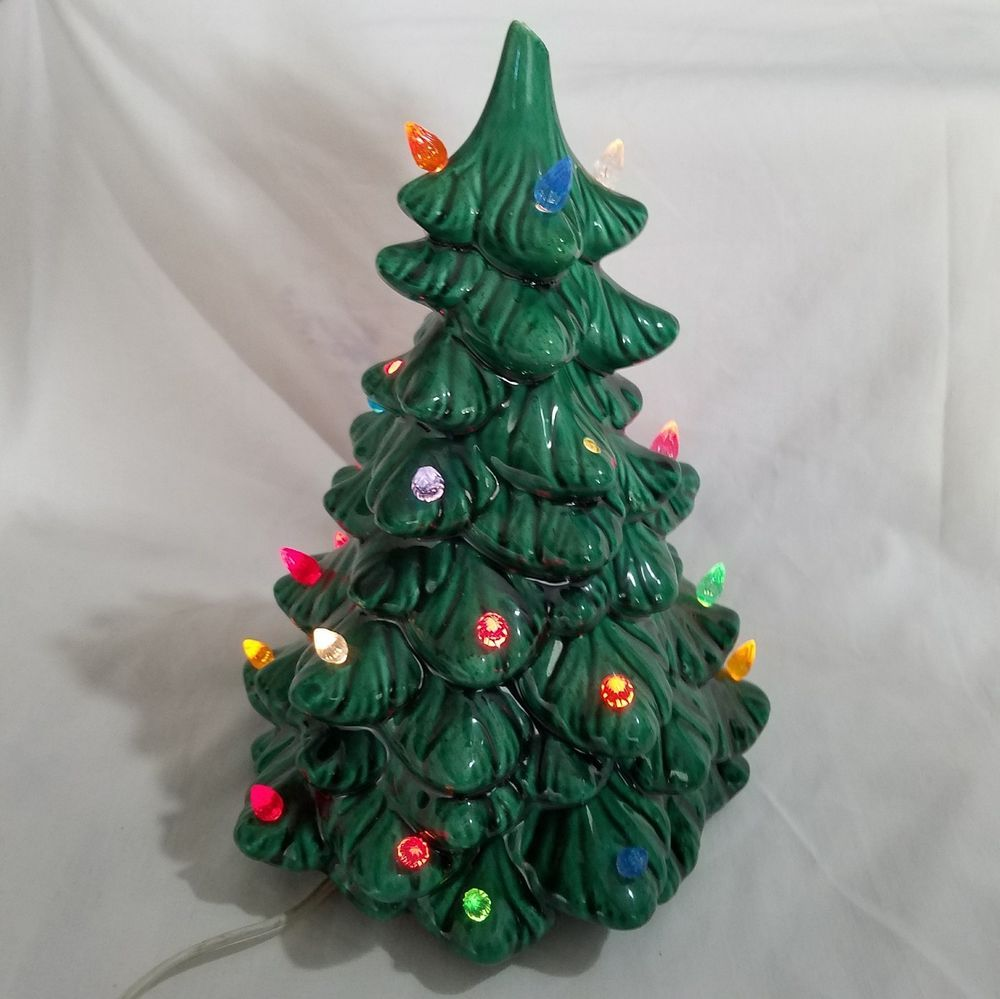 Vintage Light Up Ceramic Christmas Tree Multicolor Lites 10 inches ...