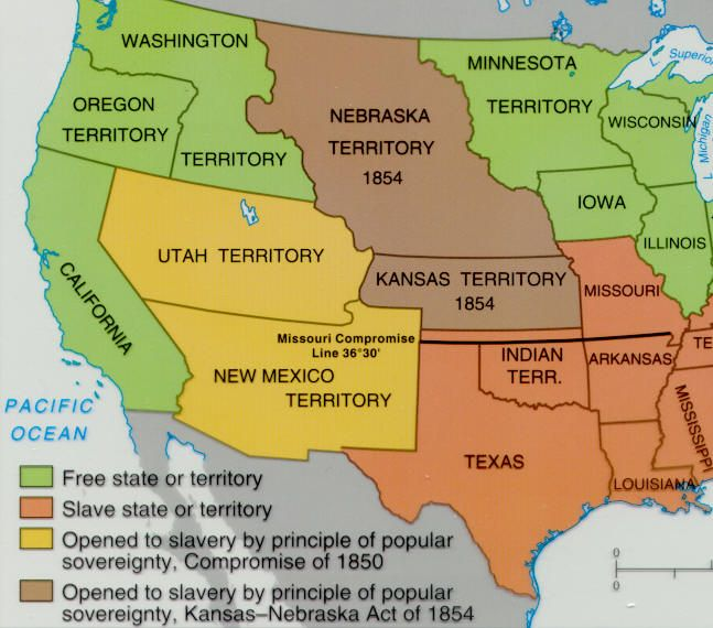 This Picture Shows The KansasNebraska Act Standard - Compromise of 1850 map