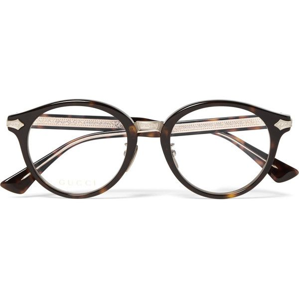 dadd8afaaae7f Gucci Round-Frame Tortoiseshell Acetate and Gold-Tone Optical Glasses  ( 430) ❤ liked on Polyvore featuring men s fashion
