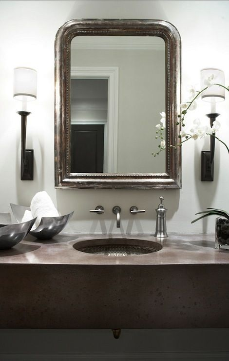 Gorgeous Bathroom With Concrete Floating Vanity Paired With Hammered