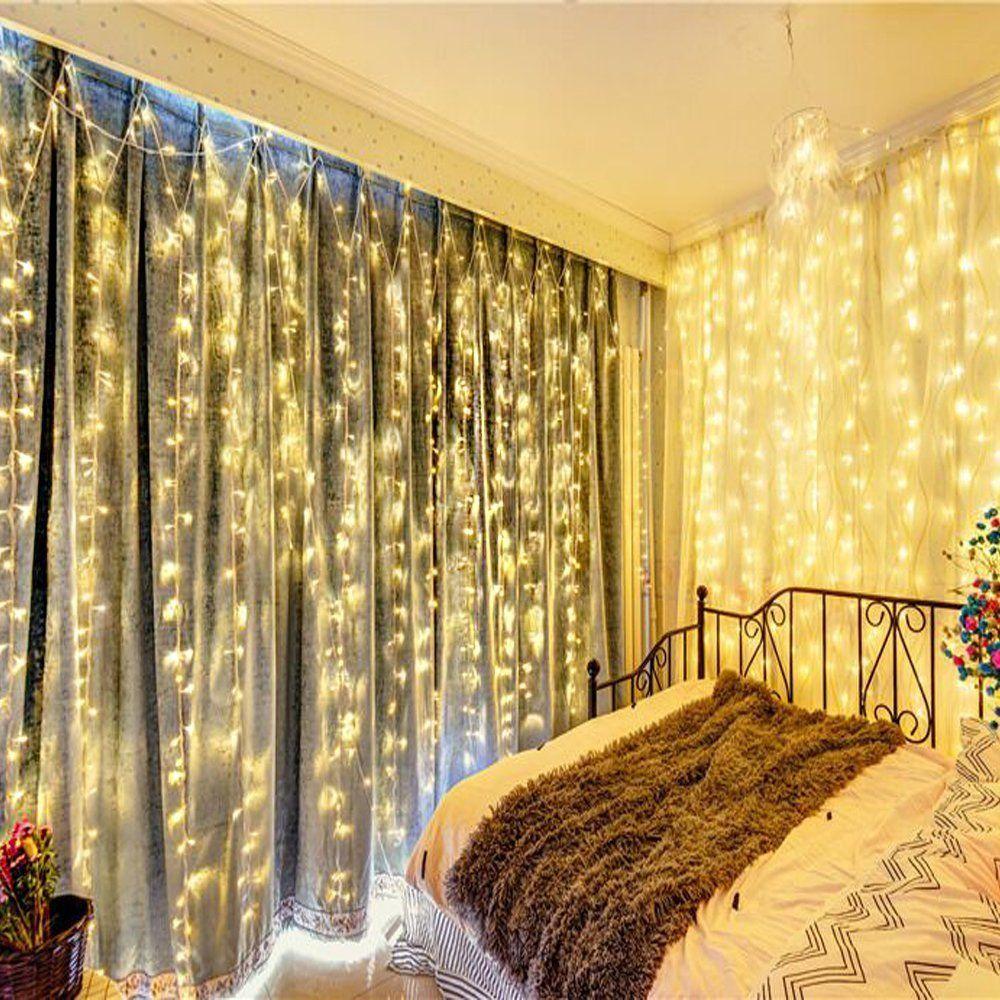 Amazon.com : Naisidier Window Curtain String Lights Starry Fairy ...