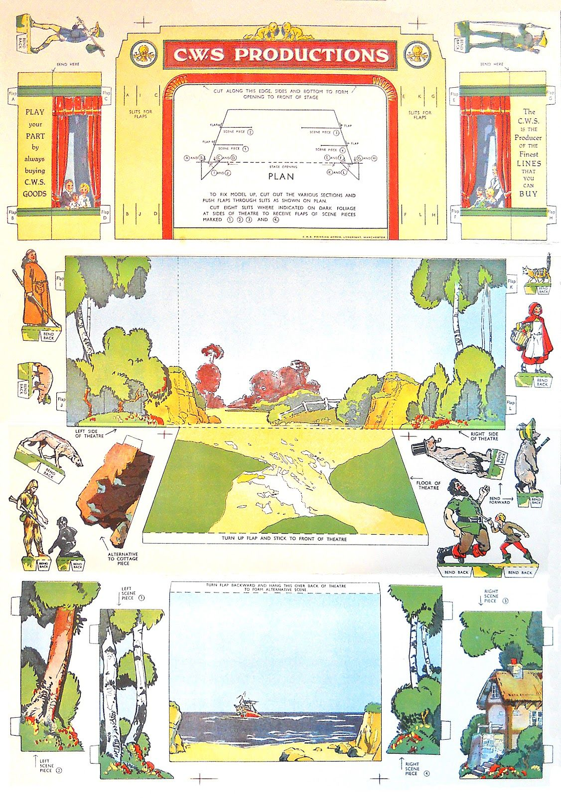 Co Op Theatre Fun Free Printable Theater Vintage Papercraft Include Jack And The Beanstalk