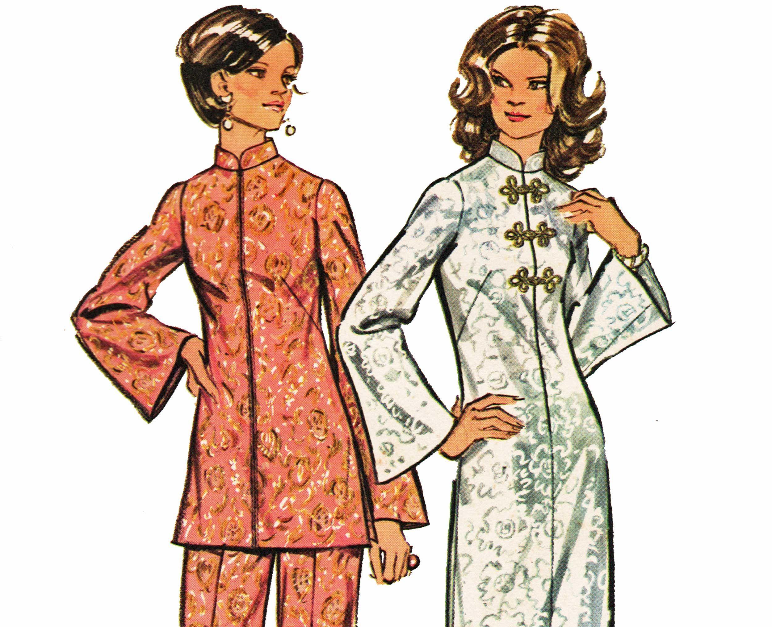 Asian oriental dress pattern cheongsam maxi dress pattern mandarin asian oriental dress pattern cheongsam maxi dress pattern mandarin collar tunic top and pants pantsuit pattern jeuxipadfo Choice Image
