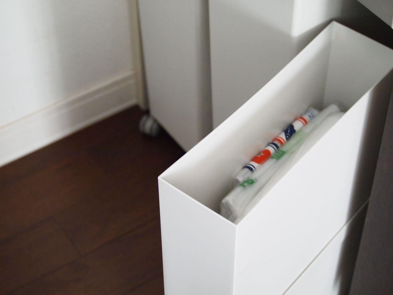 ダイソー 我が家のゴミ袋収納 ラクラクピタッ とストレスフリーに 白 グレーの四角いおうち キッチン 背面収納 収納 背面収納